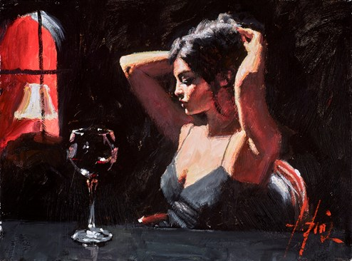 The Dark Room (Reversed) by Fabian Perez - Original Painting on Stretched Canvas